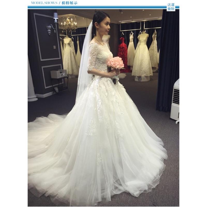 韓式2016 長拖尾蕾絲簡約婚紗禮服新娘結婚一字肩長袖齊地