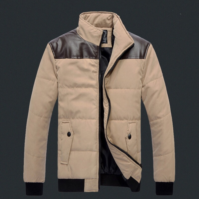 、男款立領保暖羽絨棉襖羽絨外套立領外套保暖外套拼皮立領外套