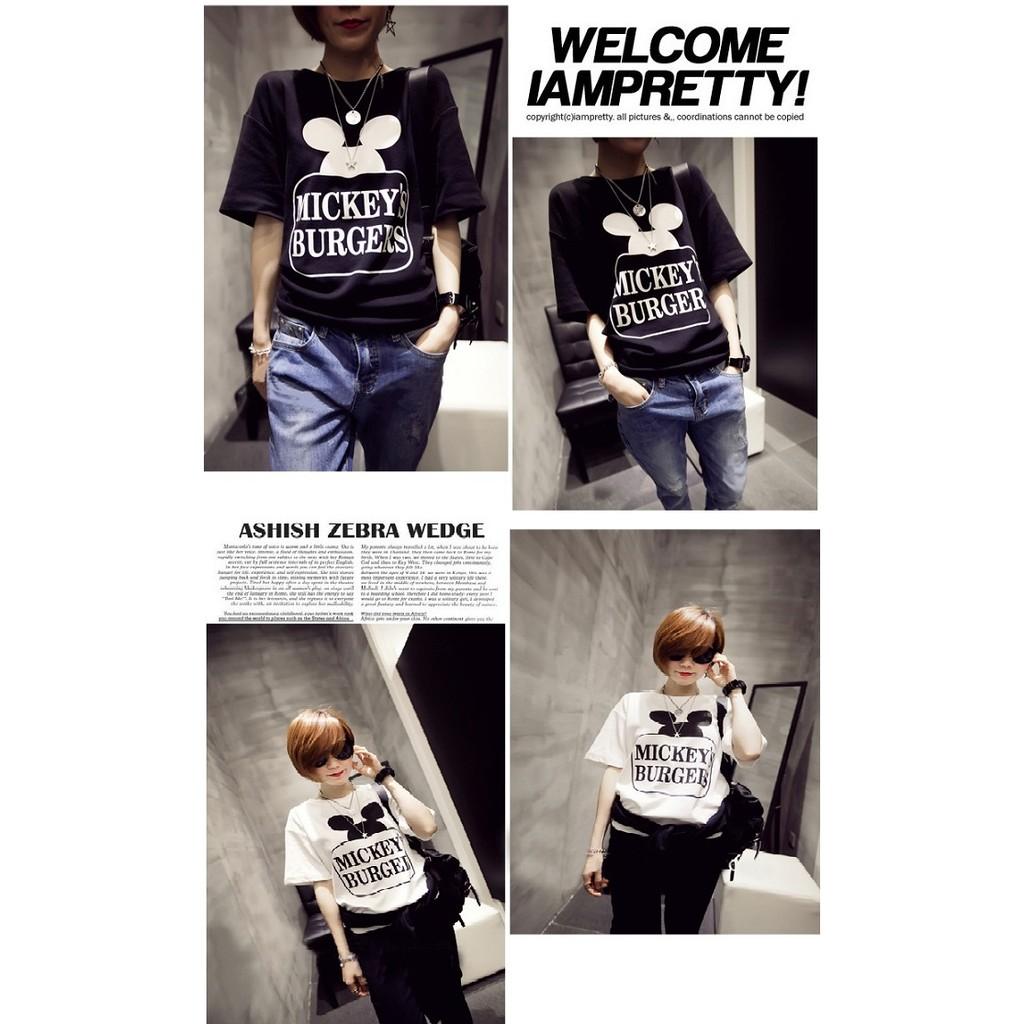 新品 價韓國2016 雜誌 款寬鬆大 米奇字母印刷圓領棉T恤~男女皆可穿喔