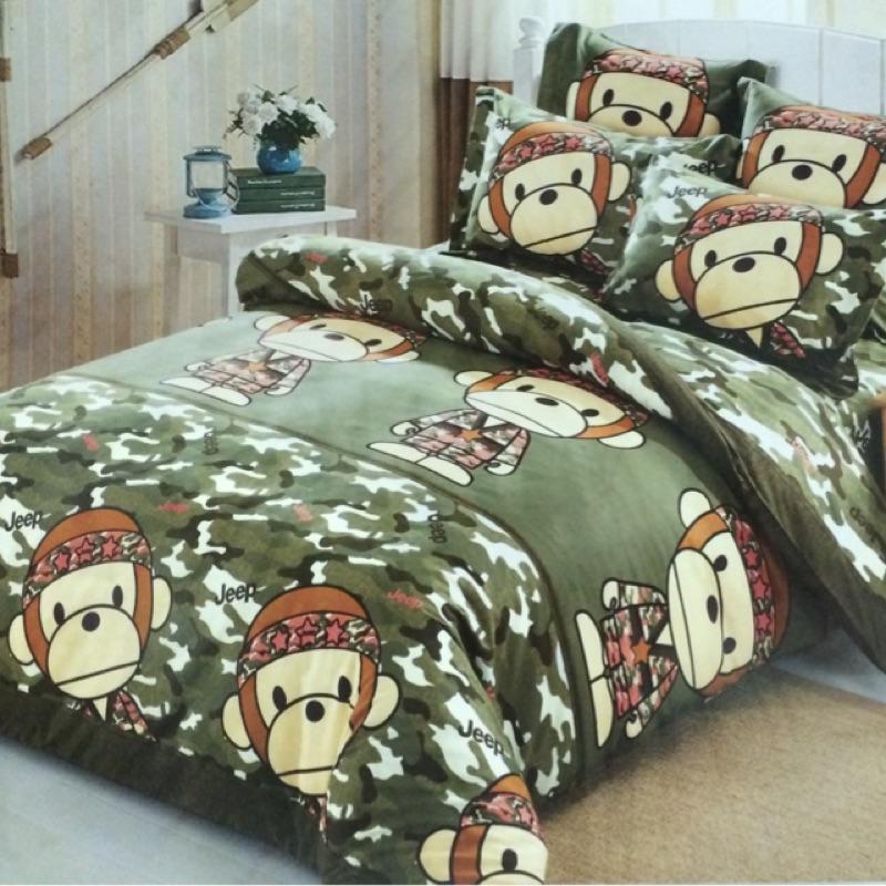 成媽寢具3M 舒柔棉法萊絨迷彩猴單人雙人雙人加大特大床包枕頭套涼被薄被套兩用被套,四件組