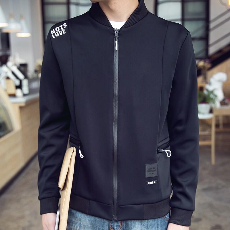 潮流男士2016 秋裝 男士純棉 夾克外套立領青少年衛衣口袋拉鏈 款