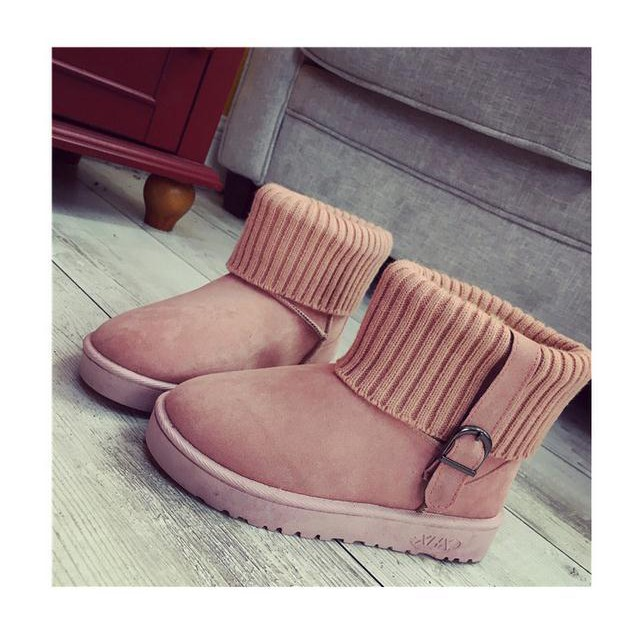 平跟毛線加厚雪地靴女皮帶扣休閒短筒靴學生一腳蹬女靴子
