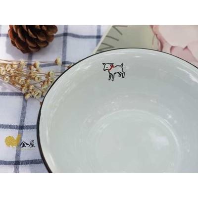 小法國琺瑯系列懷舊Vintage 風黑白小綿羊深型濃湯碗沙拉缽北歐Matsuo Miyuk