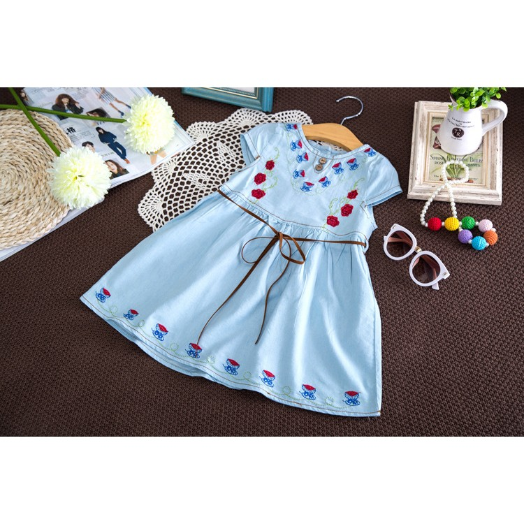 系帶兩用袖牛仔裙衫兒童領口繡花褶皺襯衫連衣裙