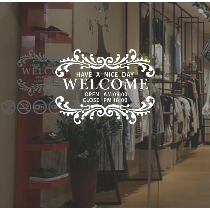 AJ 貼紙貨號121 營業時間壁貼貼紙玻璃門門口上班時間咖啡店寵物店服飾店門市花店
