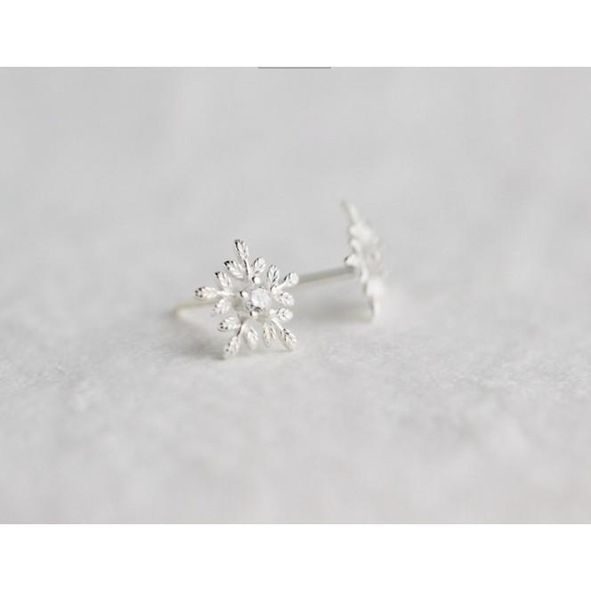 皇后銀飾文藝雪花鑲鑽耳環森系花朵氣質耳針不過敏925 純銀E35