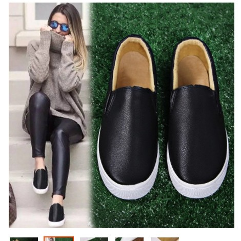 懶人鞋女一腳蹬皮面樂福鞋黑白色學生帆布鞋休閒百搭 女鞋