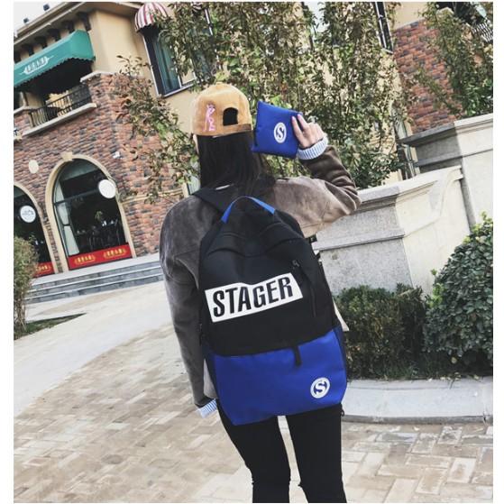 字母拼接撞色防水書包男女學院風學生背包休閒旅行包電腦包