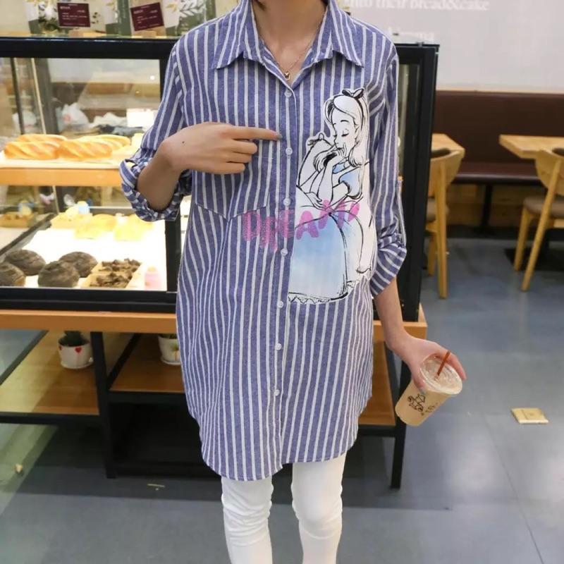 愛麗絲男友襯衫寬鬆長版條紋愛莉絲艾莉絲艾麗絲卡通迪士尼