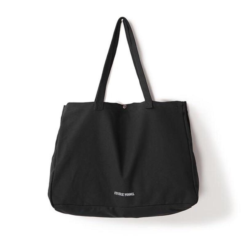 潮の概念原創日系新品復古簡約帆布包黑色百搭刺繡手提單肩包男女款
