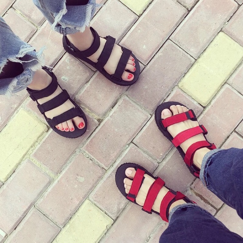 越南涼鞋女夏韓國ulzzang 原宿布帶平底百搭學生簡約情侶沙灘鞋潮