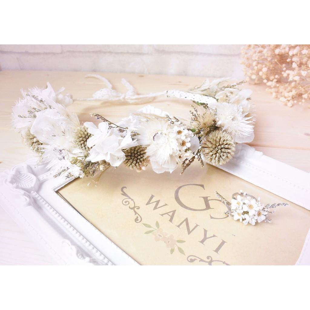 WANYI ~森林系白花圈戒指乾燥花法國白梅繡球婚禮新娘外拍婚紗攝影