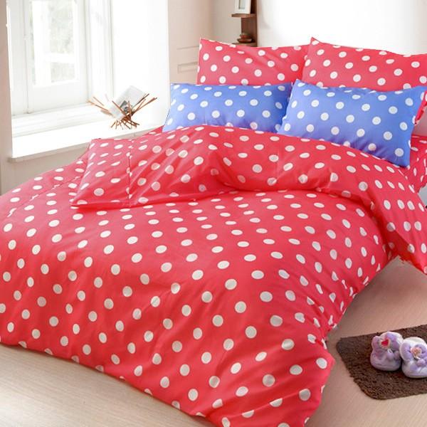 ❤ 6 折❤床包被套組雙人單人~01 可愛點點橘~100 超細纖維,Artis 製