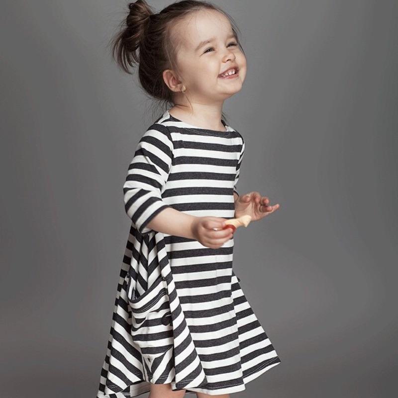 曈曈Ba 曈曈Baby 2016 ins 黑白條紋女童連裙女寶寶長袖長裙純棉