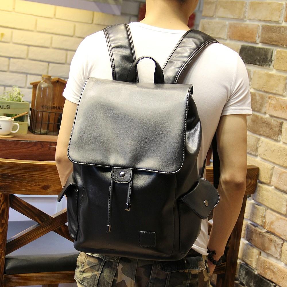 ~雙肩包~ 休閒雙肩包男士翻蓋 潮流皮背包男 學生書包旅行包電腦