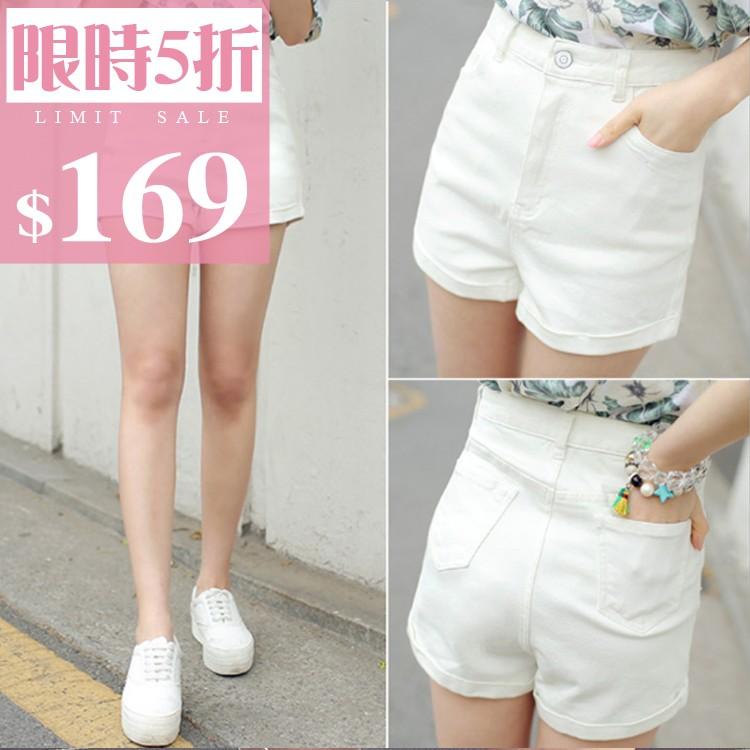 秒出MYMY ~BK028 ~寬鬆短褲高腰反摺淺色牛仔短褲3 色