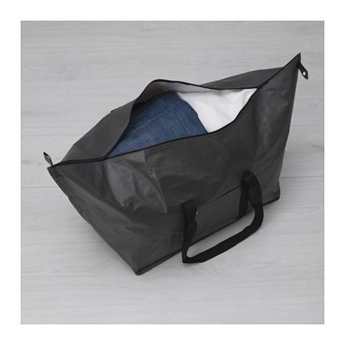 IKEA 黑色大容量73 公升折疊拉鍊 袋搬家袋旅行袋收納袋側背袋BRODERLIG