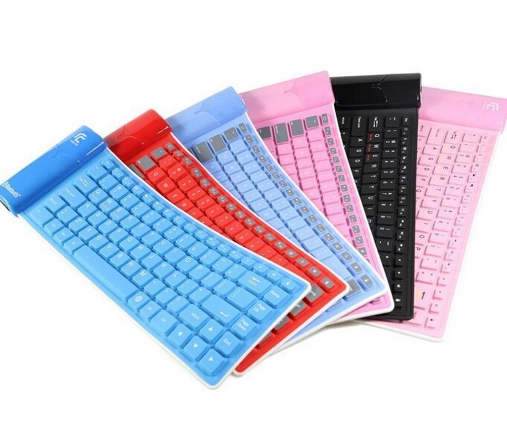 捲筒矽膠無線藍牙鍵盤手機平板臺式迷你便攜防水可折疊矽膠軟鍵盤