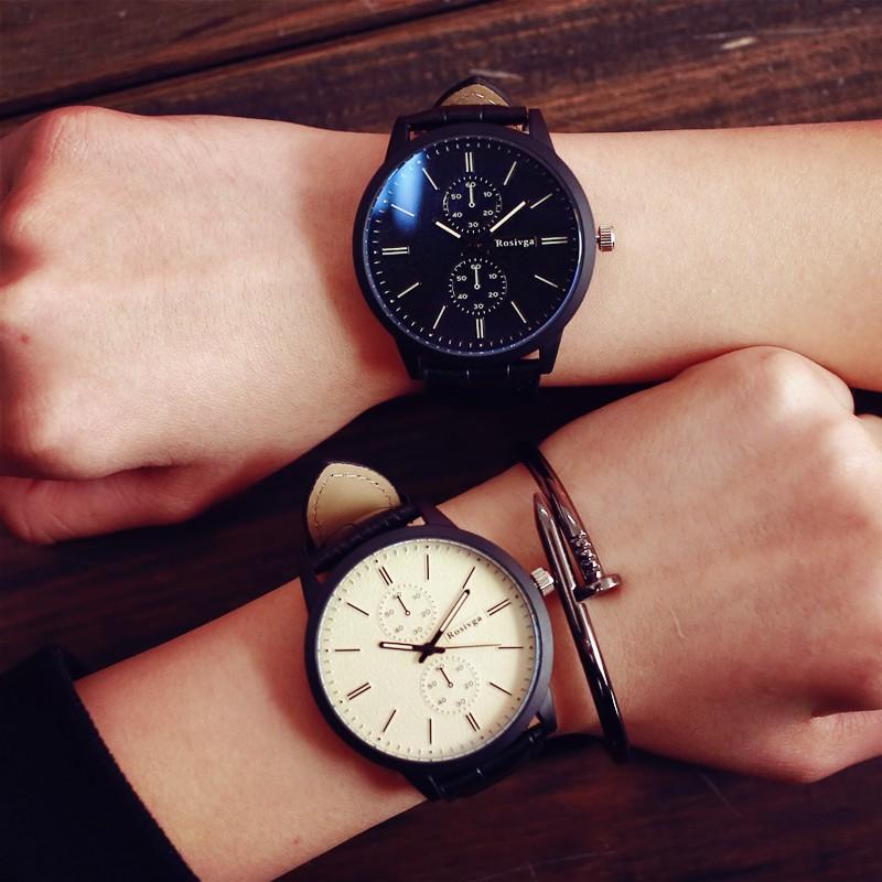 簡約鱷魚紋皮革刻度獨立秒針錶情侶錶