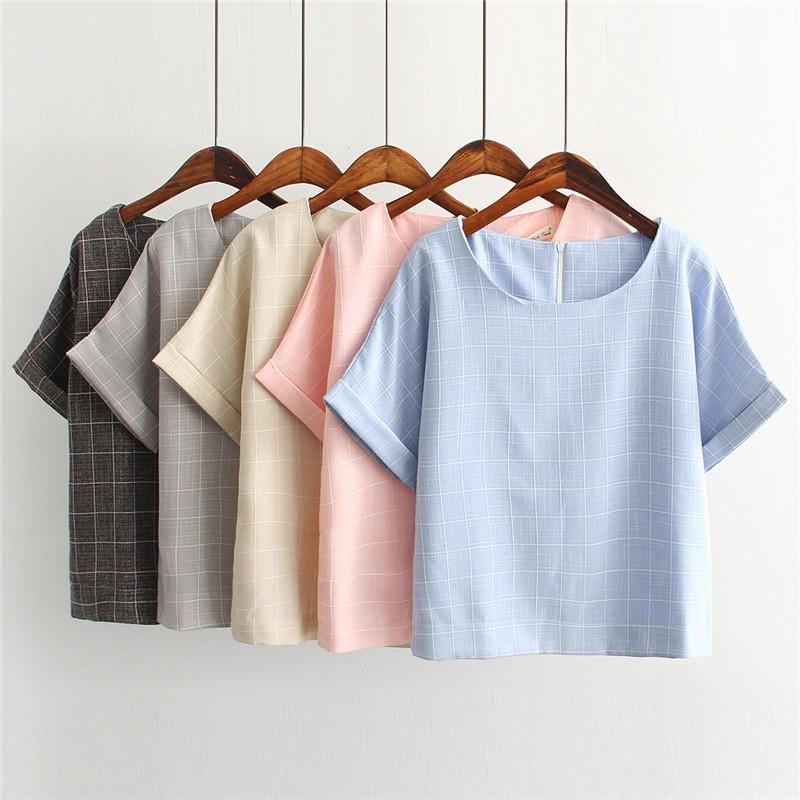 清新文藝風✨格紋棉麻短袖T 恤寬鬆亞麻上衣S XL