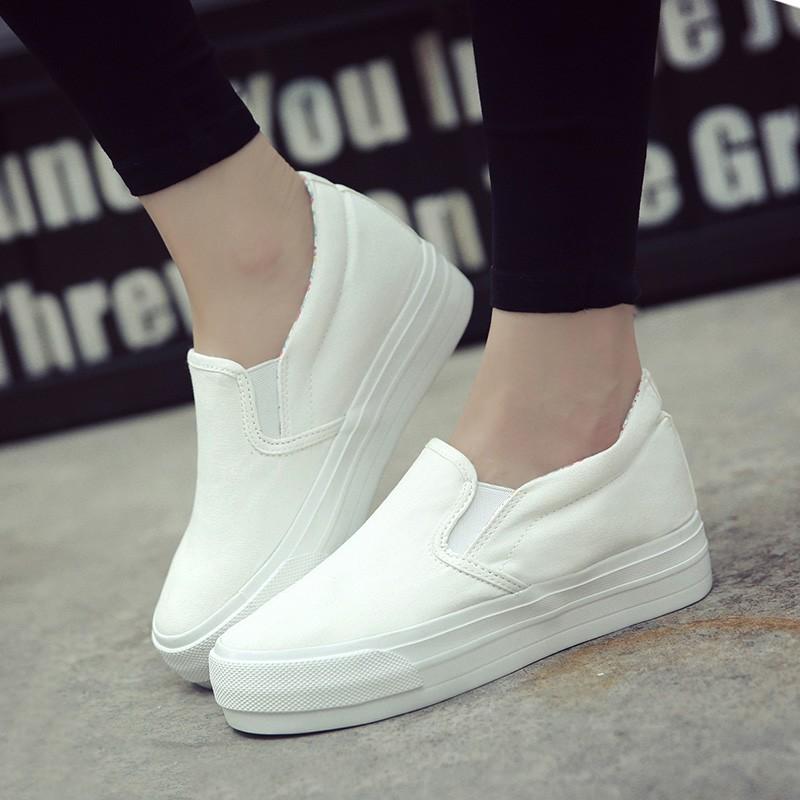 2016 小白鞋女夏透氣內增高鞋子女松糕厚底樂福鞋學生帆布鞋娃娃鞋豆豆鞋休閒鞋懶人鞋
