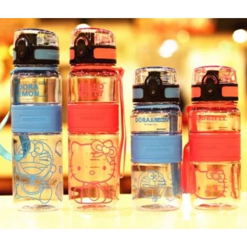 可愛卡通多啦a 夢Hello Kitty 攜帶式防漏水壺塑膠水杯 便利型彈跳瓶蓋吸管瓶蓋兩