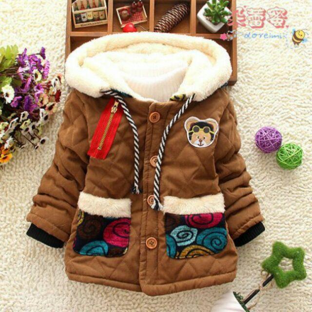 朵蕾蜜 ~014G003 ~連帽加毛絨外套紅咖啡2 色~小童外套兒童外套6 12 號
