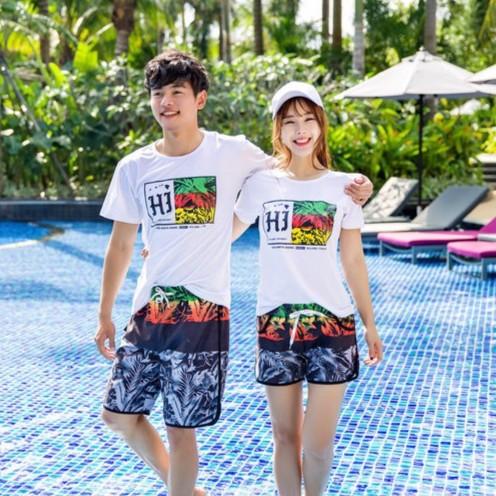 三色花情侶沙灘褲速乾休閒短褲 海邊游泳褲