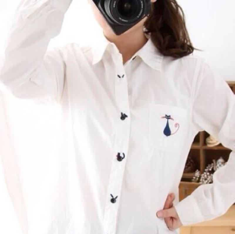 [蛋可可小舖] 款日系森女刺繡襯衫小雛菊森系小碎花小貓咪船錨小雨傘