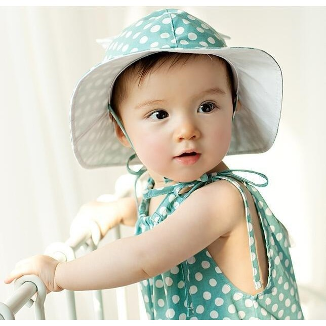 帽子太陽帽遮陽帽耳朵點點綁帶盆帽寶寶帽童帽
