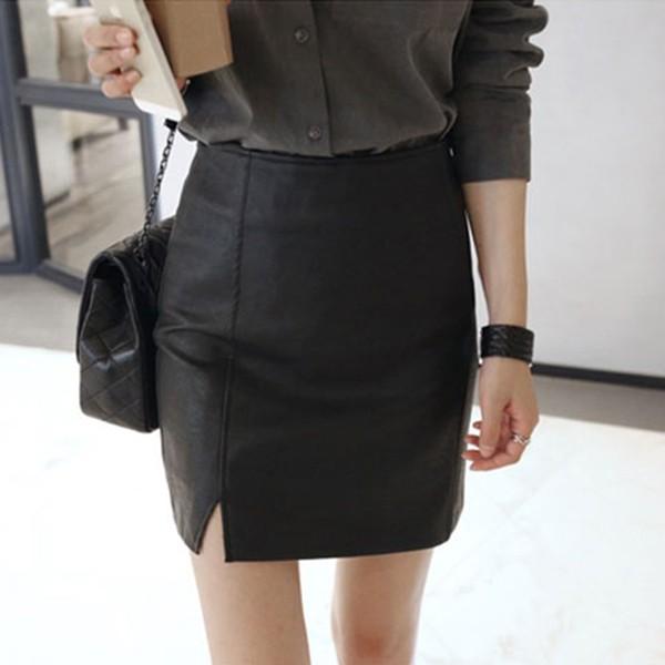 [ ] 顯瘦高腰包臀小開衩皮裙仿皮革 好 側邊開岔比例好