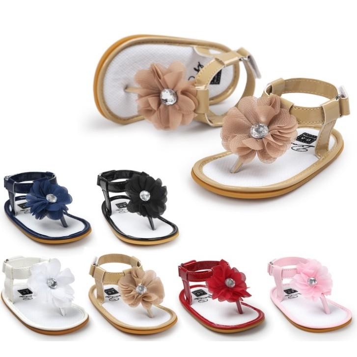 ◆ 99  ◆ 鑽石雪紡花朵夾腳涼鞋學步鞋寶寶鞋六色