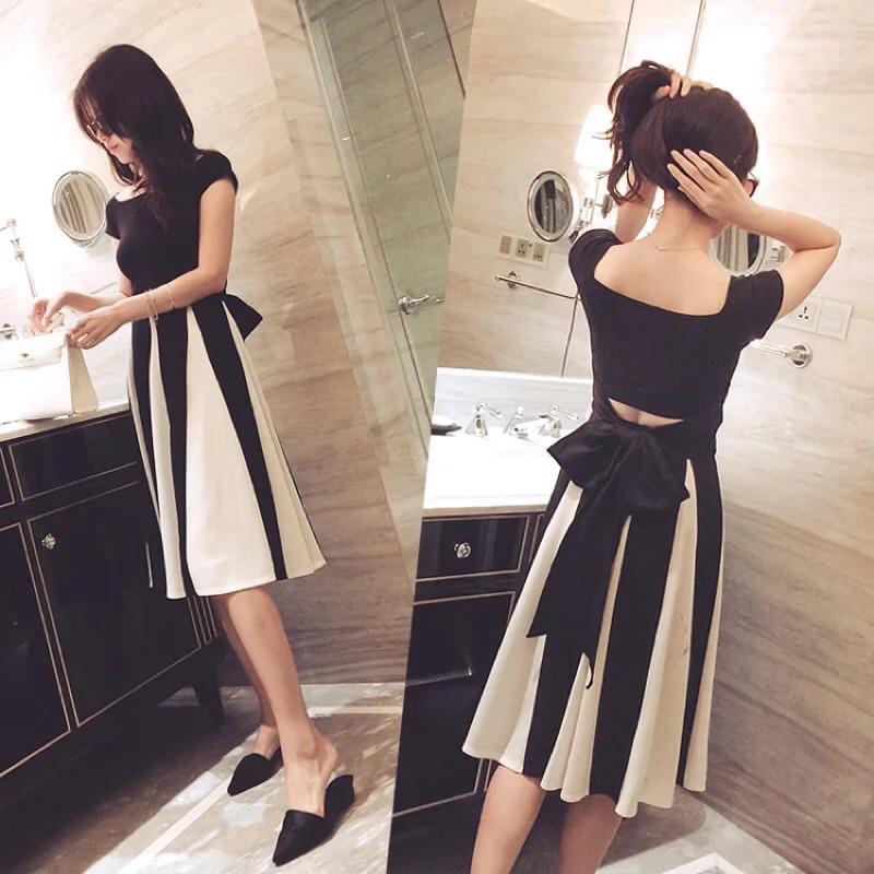 名媛氣質顯瘦系帶上衣撞色條紋長裙兩件套裝
