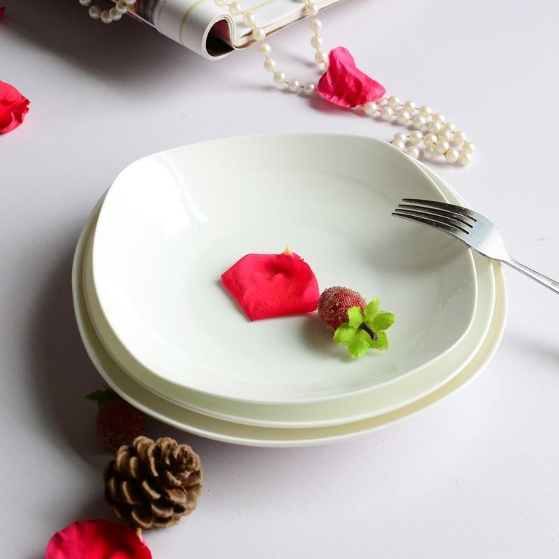 哇寶箱陶瓷餐盤平盤骨瓷方盤菜盤餐具配套盤子湯盤3 款選