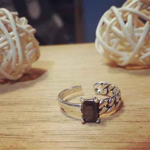 925 純銀黑瑪瑙鍊條 不規則復古泰銀開口戒指可微調大小