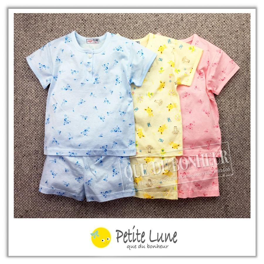 Petite lune 小月亮心福男女孩居家亮彩純棉上衣+短褲套裝組
