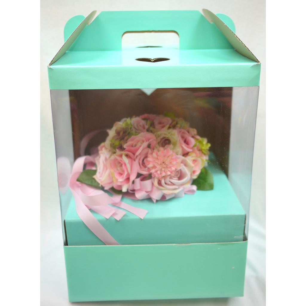 捧花盒花 不凋花永生花乾燥花鮮花多肉花藝手提式捧花盒包裝盒捧花盒新娘捧花