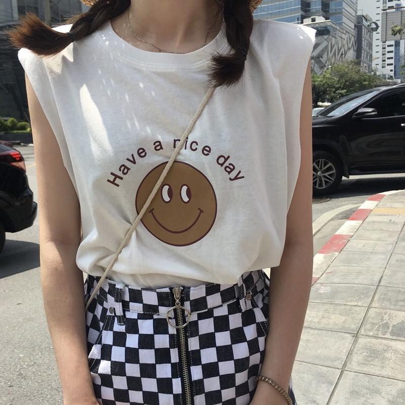 學院風 夏日新品 簡潔圓領無袖小寬松英文笑臉上衣背心T 恤女