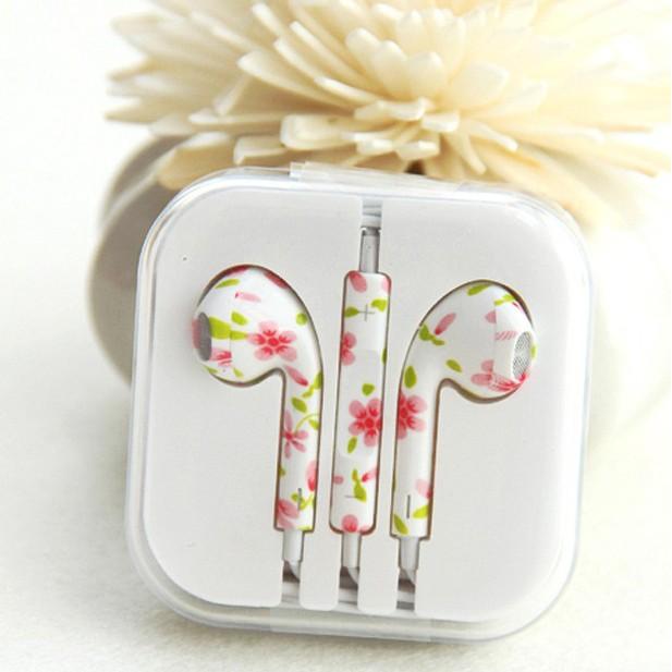 高 電腦蘋果安卓手機mp3 入耳式彩繪彩色花紋帶麥線控耳機