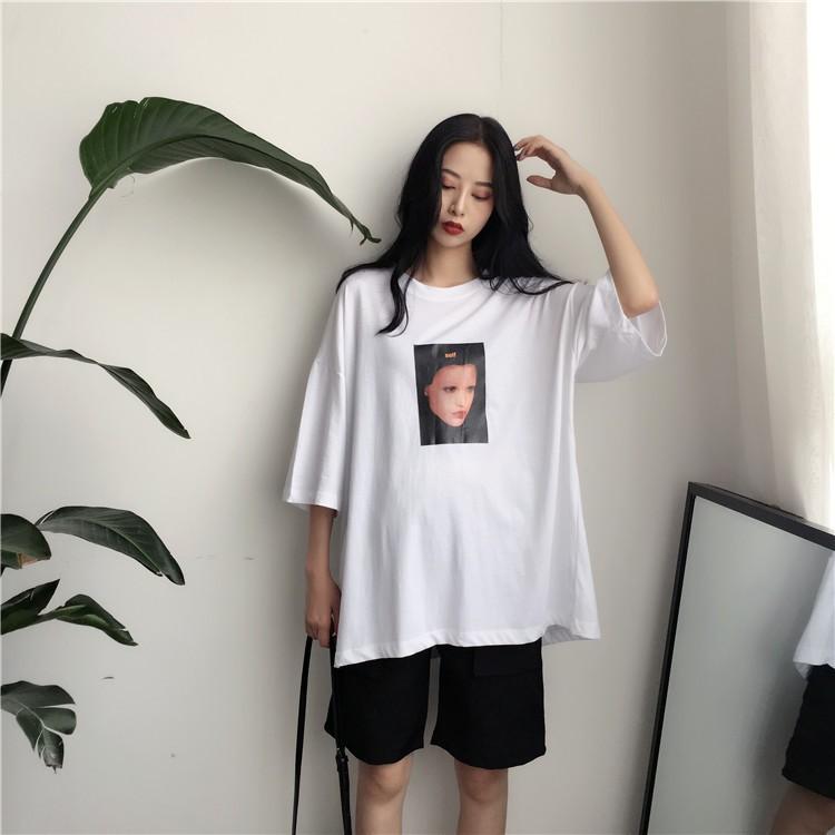 ~滿399 折30 ~超級炫酷!!港味復古韓國chic 風氣質街頭風大碼圖像印花打底上衣女