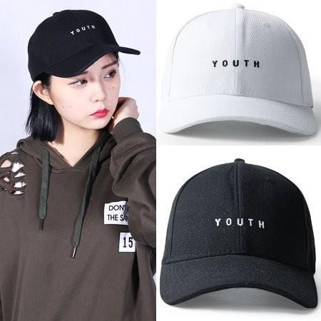 日系簡單文字風格youth 文字精緻純棉 刺繡棒球帽老帽鴨舌帽彎帽子K603