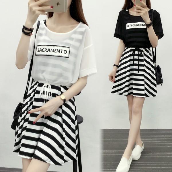小清新條紋連衣裙女短袖雪紡罩衫吊帶背心裙兩件套裝裙子