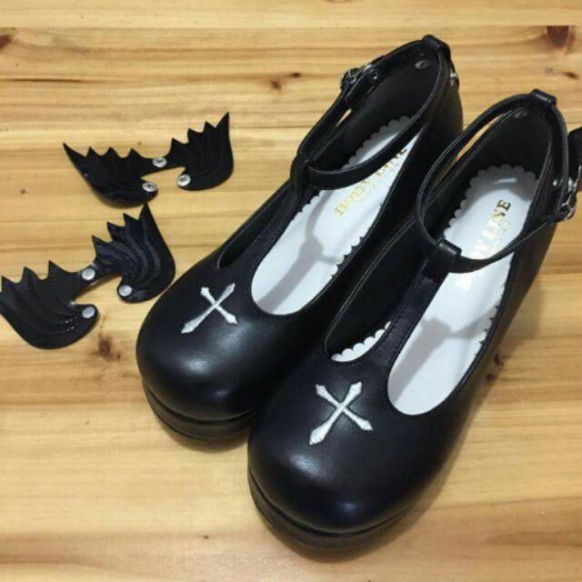 蕾米莉小舖Lolita 鞋十字架翅膀小惡魔天使可愛蘿莉軟萌黑色白色紅色