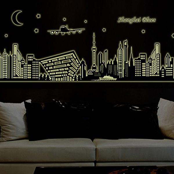 夜光壁貼城市風景夜景全面 夜光壁貼JB0003 ~上海城市ABQ9636 ~~HELLO