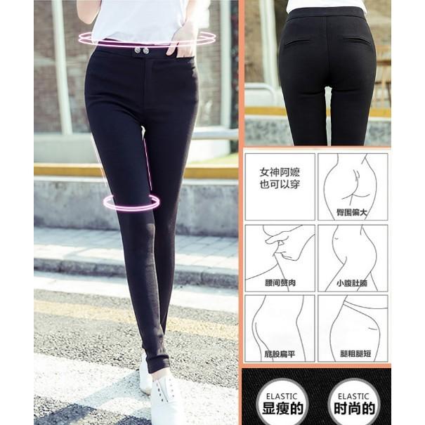 新品新春 ~韓國SP 60  魔術褲加絨黑色 彈力大碼鉛筆打底褲女修身顯瘦