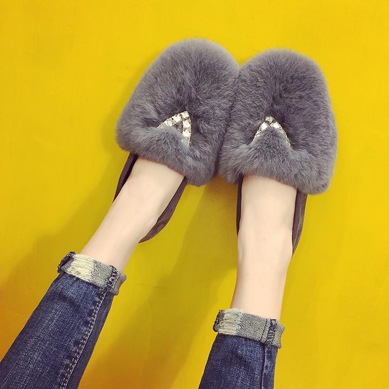 2016 款超大真兔毛V 鉆毛毛鞋平底縫幫鞋豆豆鞋女鞋單鞋學生鞋