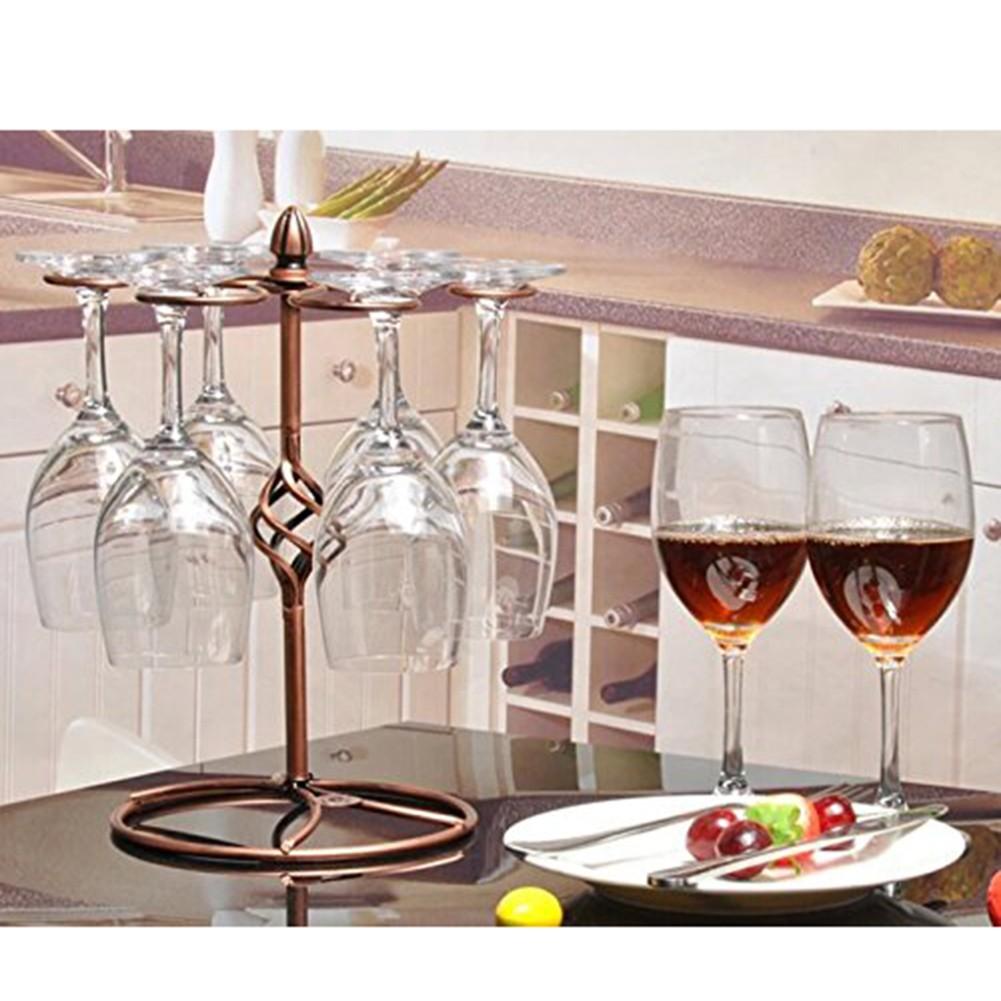 歐式紅酒杯架倒掛懸掛 鐵藝吊杯架擺件酒吧KTV 螺紋高腳杯架(古銅色)