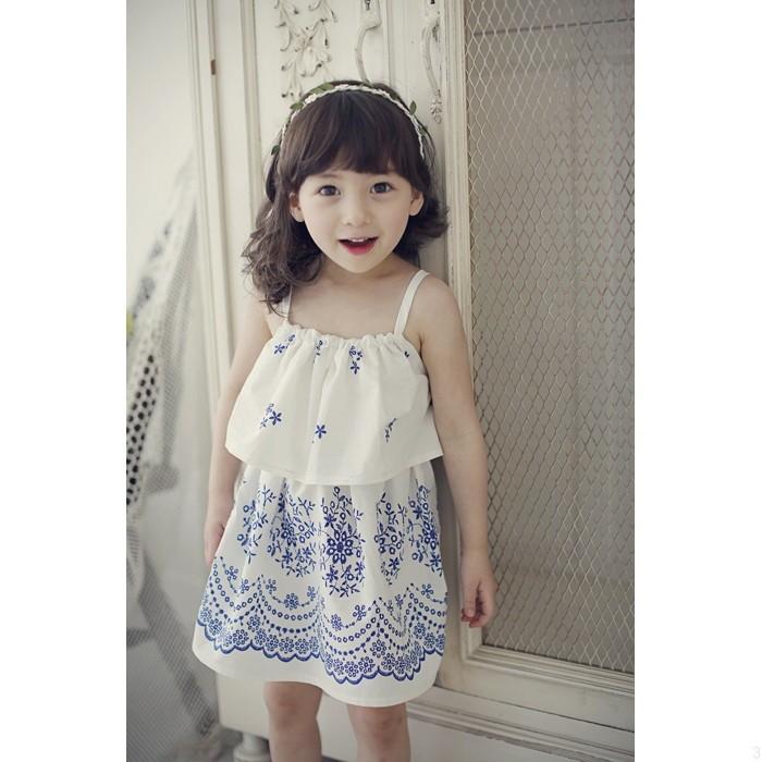 女童全棉印花吊帶裙兒童淡雅荷葉邊連衣裙