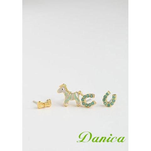 Danica 韓系飾品韓國連線❤可愛療癒系斑馬蝴蝶結馬蹄4 件組水鑽耳環3 色K6536