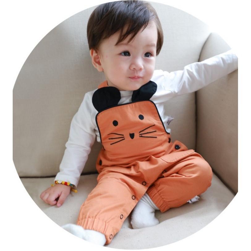 mini 貝貝城 新品 兒童背帶褲吊帶褲嬰幼小童寶寶 橘色軟布有開檔